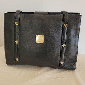 Vintage Safiano leather Black MCM tote bag